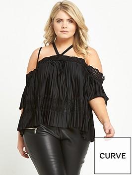 ri-plus-plisse-cold-shoulder-top-black