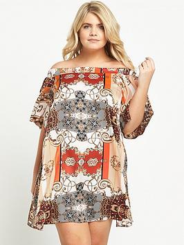 ri-plus-scarf-print-bardot-dress