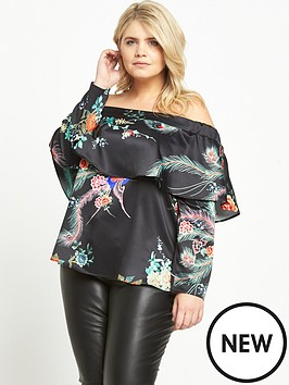 ri-plus-printed-bardot-top