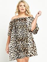 Leopard Print Bardot Dress