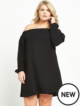ri-plus-long-sleeve-bardot-dress-black