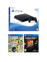 Slim 500Gb Black Console with FIFA 17, Minecraft and Optional Extra Controller and/or 12 Months PlayStation Network