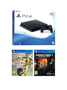 playstation-4-slim-500gb-black-console-with-fifa-17-minecraft-and-optional-extra-controller-andor-12-months-playstation-network