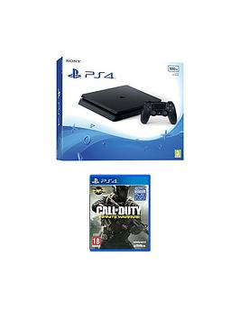 Playstation 4 Slim 500Gb Black Console With Call Of Duty Infinite Warfare And Optional Extra Dualshock Controller AndOr 12 Months Playstation Plus  Ps4 500Gb Black Slim Console With Call Of Duty I