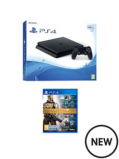 playstation-4-slim-500gb-black-console-with-destiny-the-collection-plus-optional-extra-dualshock-controller-andor-12-months-playstation-network