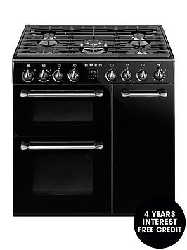 smeg-bu93bl-90cm-dual-fuel-3-cavity-cooker-with-gas-hob-black
