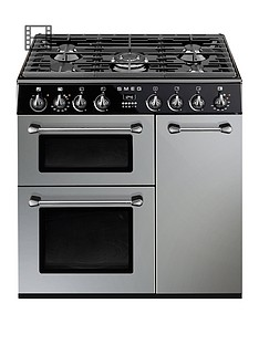 smeg-bu93s-90cm-dual-fuel-3-cavity-cooker-with-gas-hob-silver