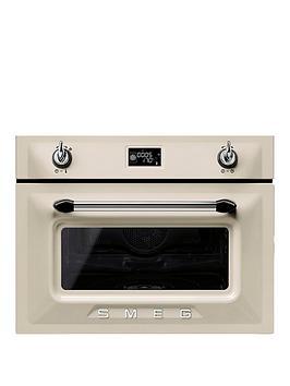 Smeg Sf4920Vcp Victoria 45Cm BuiltIn Compact Steam Combination Oven  Cream