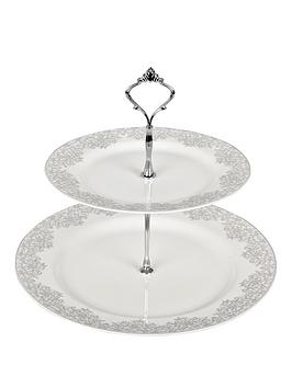 denby-monsoon-filigree-silver-2-tier-cake-stand