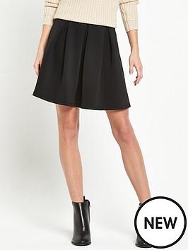 miss-selfridge-black-scuba-skater-skirt