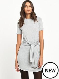 miss-selfridge-tie-front-t-shirtnbspdress-grey