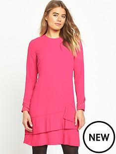 warehouse-pleated-hem-shift-dress-pink