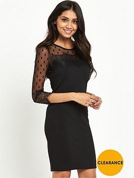 wallis-petite-dobby-lace-trim-dress-black
