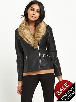 wallis-petite-glam-faux-fur-pu-jacket-black