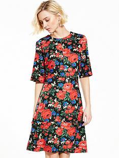warehouse-rose-print-ponte-dress