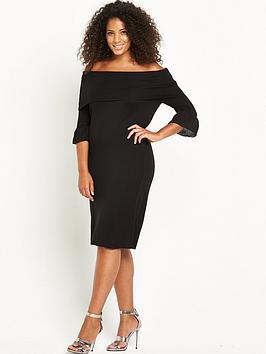 lost-ink-curve-knitted-rib-bardot-dress