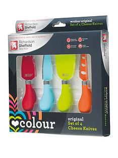 richardson-sheffield-love-colour-original-4-piece-cheese-knife-set-with-amour-chopping-board