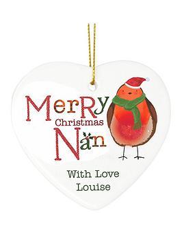 personalised-christmas-robin-nan-ceramic-heart-decoration