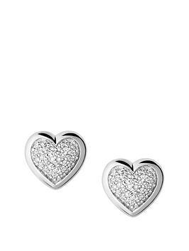 Links Of London Sterling Silver Diamond Set Heart Stud Earrings