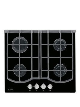 Aeg Hg653430Nb 59Cm Wide Gas Hob  Black Glass
