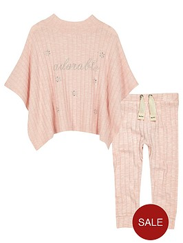 river-island-mini-girls-pink-sparkly-poncho-and-leggings-set