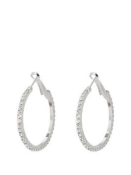 Very Silver Tone DiamantÉ 35Mm Hoops Picture