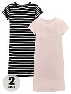 v-by-very-girls-stripe-and-plain-midi-dresses-2-pack