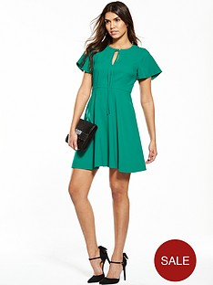 v-by-very-angel-sleeve-dress-green