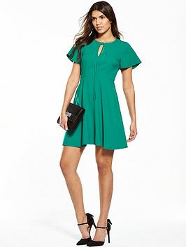 V By Very Angel Sleeve Dress  Green