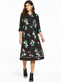 v-by-very-ladder-stitch-short-sleeve-printed-midi-dress