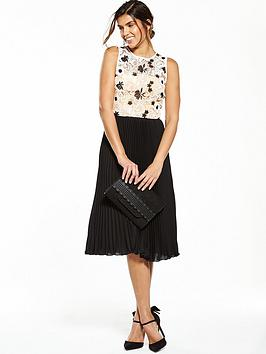 V By Very Pleated Lace Midi Dress