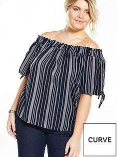 v-by-very-curve-stripe-bardot-top