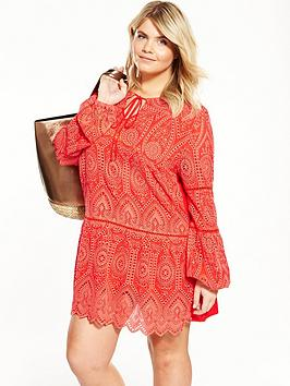 V By Very Curve Brodie Long Sleeve Dropped Hem Tunic  Red