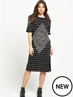 replay-patterned-tee-dress-black