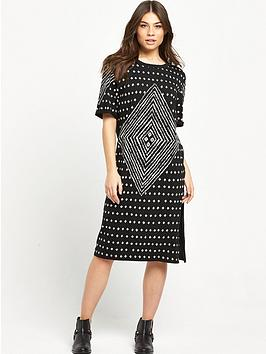 Replay Patterned Tee Dress  Black