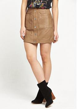 Replay Leather Skirt  Tan