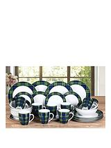 Blue Tartan 32-piece Dinner Set