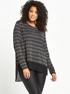 so-fabulous-woven-hem-lurex-jersey-top-blacksilver
