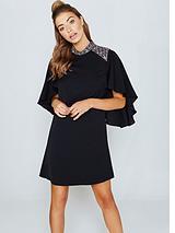 Cape Sleeve Dress With Embellishment - Black
