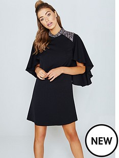 little-mistress-little-mistress-black-cape-sleeve-dress-with-embellishment