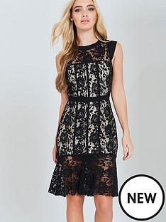 paper-dolls-lace-peplum-dress-black-and-beige