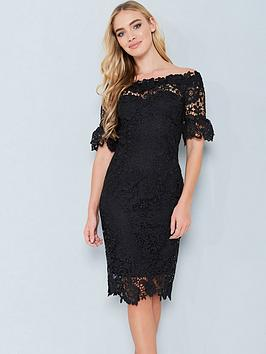 paper-dolls-crochet-lace-bardot-dress-black