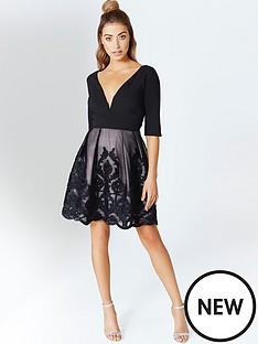 little-mistress-little-mistress-black-ribbon-applique-mini-dress