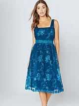 Little Mistress Teal Embroidered Midi Dress