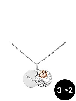 love-silver-sterling-silver-and-rose-rhodium-personalised-filigree-rose-disc-pendant