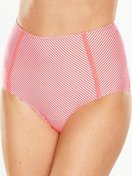 V By Very Seersucker Stripe High Waist Bikini Brief