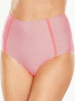 V By Very Seersucker Stripe High Waist Bikini Brief