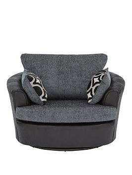 Very Bardot Fabric And Faux Snakeskin Swivel Chair Picture