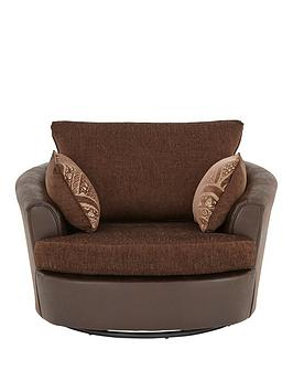 Very Gatsby Fabric And Faux Snakeskin Swivel Chair Picture