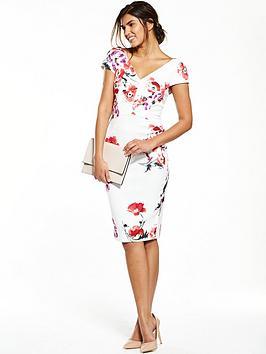 V By Very Floral V Neck Pencil Dress  White